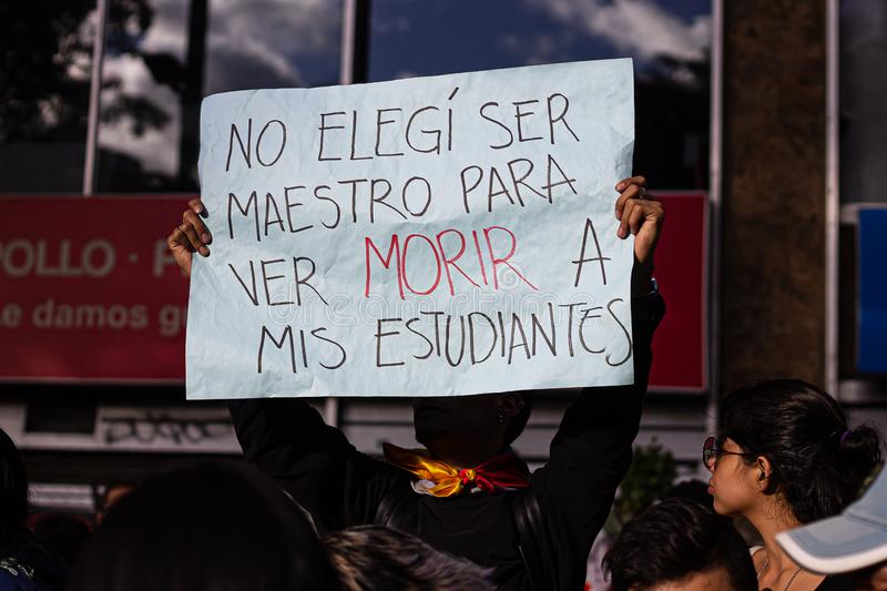 Sixth day of protests in Bogota Colombia stock image