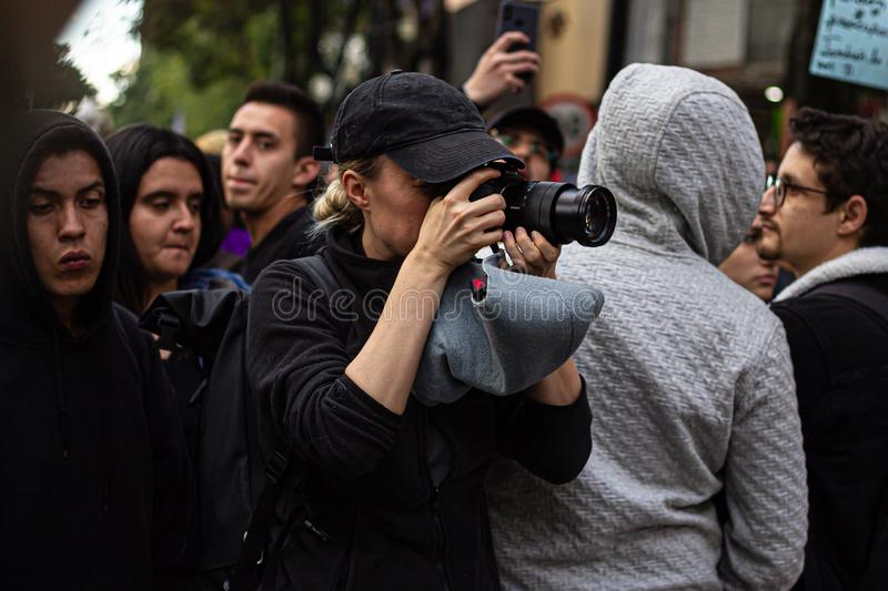 Sixth day of protests in Bogota Colombia royalty free stock photos