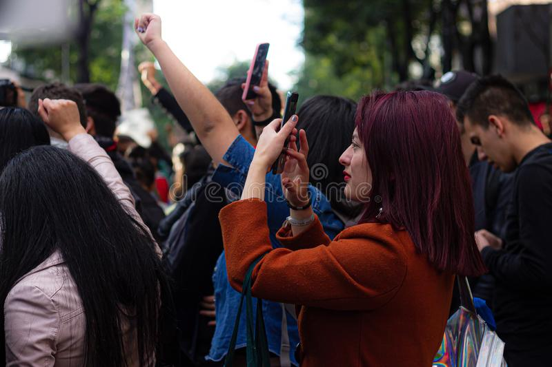Sixth day of protests in Bogota Colombia stock photo