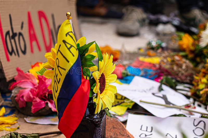 Sixth day of protests in Bogota Colombia stock photography