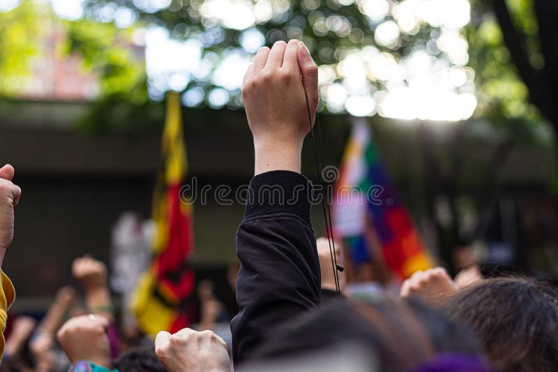 Sixth day of protests in Bogota Colombia royalty free stock image