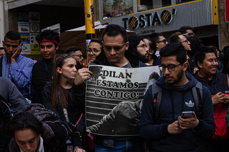 Sixth day of protests in Bogota Colombia royalty free stock photography