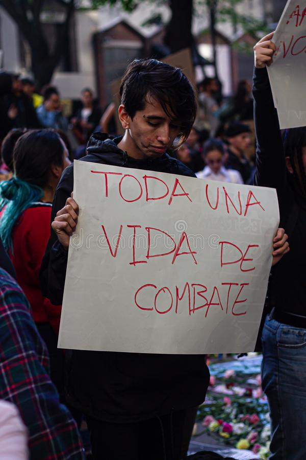 Sixth day of protests in Bogota Colombia stock photos