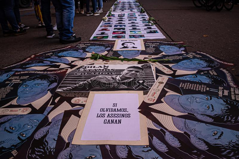 Sixth day of protests in Bogota Colombia stock images