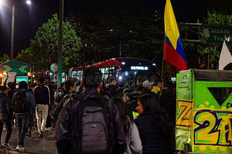 Sixth day of protests in Bogota Colombia royalty free stock photo