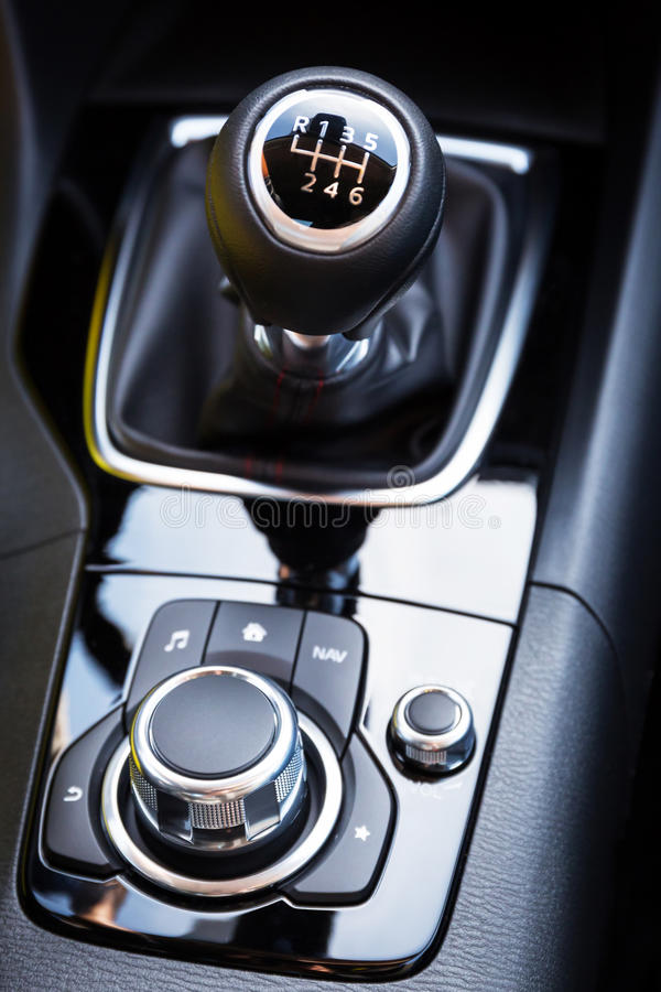 Sixth shift gear. Shift gear of manual gearbox royalty free stock photos