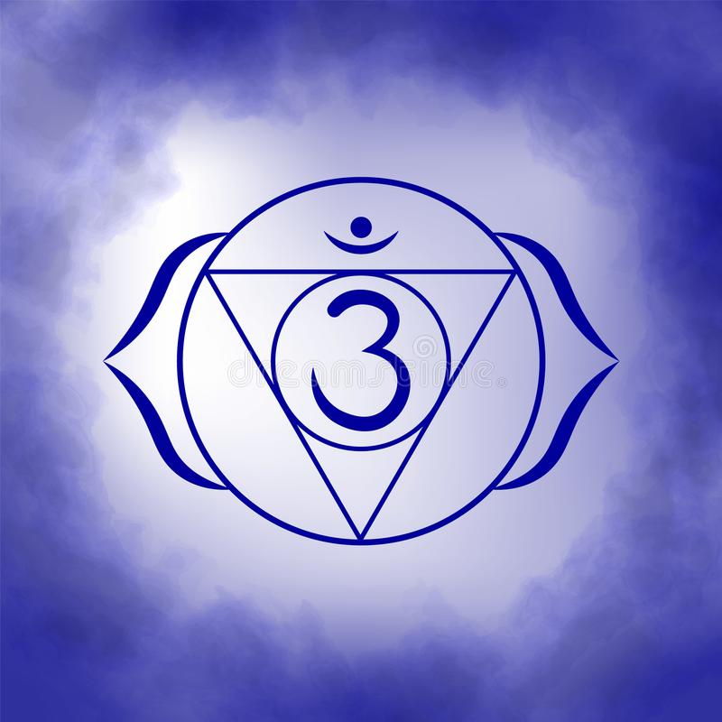 Sixth, third eye chakra - Ajna. Illustration of one of the seven chakras. The symbol of Hinduism, Buddhism. Blue watercolor fog on background stock illustration