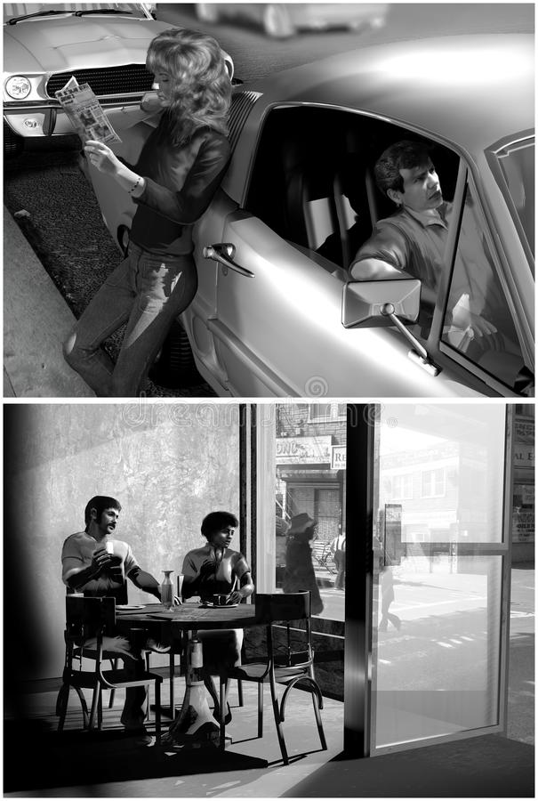 In the sixties. Creations inspired on photos of the sixties. If the composition is nearly the same, characters, attitudes, furniture, vehicles and background are royalty free stock photos