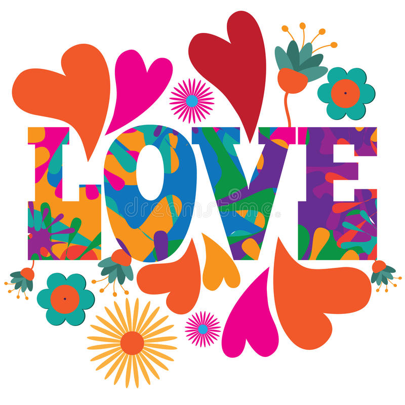 Sixties style mod pop art psychedelic colorful Love text design. stock illustration