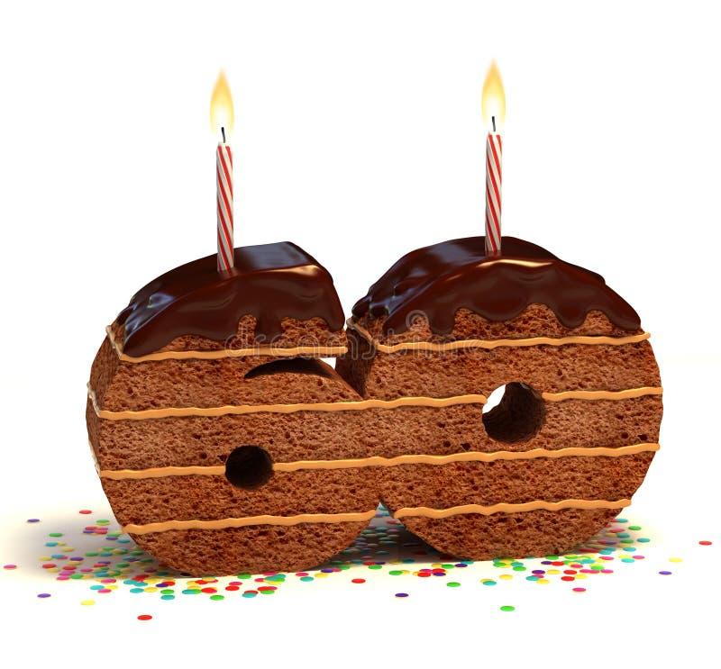 Sixtieth bolo do aniversário ou do aniversário ilustração do vetor