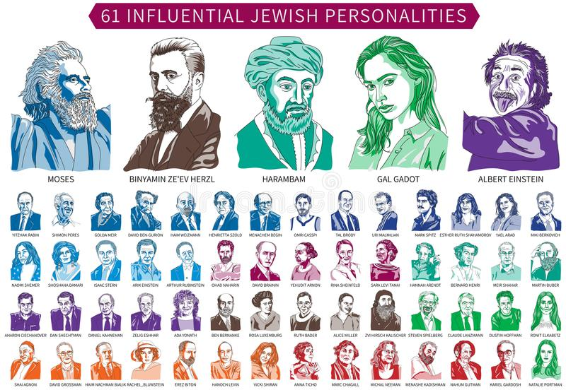 Sixty-one famous Jewish personalities. Who operated during the Biblical period until the present day - 5/2018 - are depicted in a vector illustration and royalty free illustration