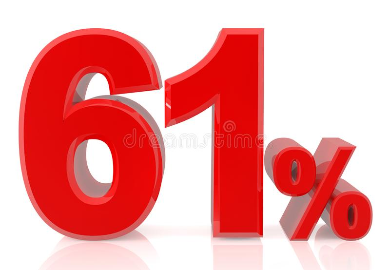 Sixty one percent red 3d rendering on white background vector illustration