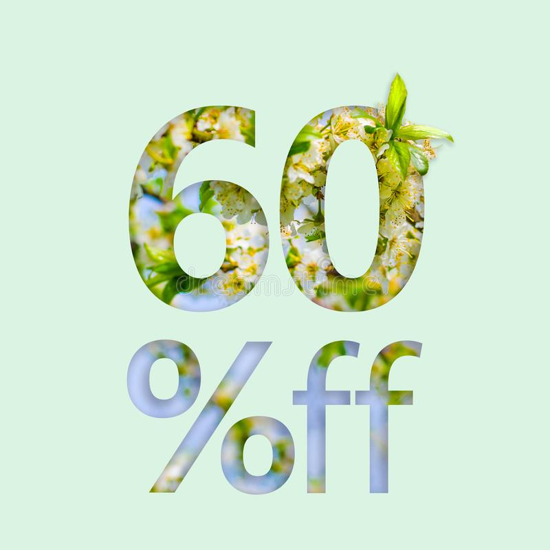 60% sixty percent off discount. The creative concept of spring sale, stylish poster, banner, promotion, ads. stock photos