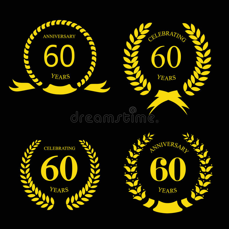Sixty years anniversary signs laurel gold wreath stock illustration