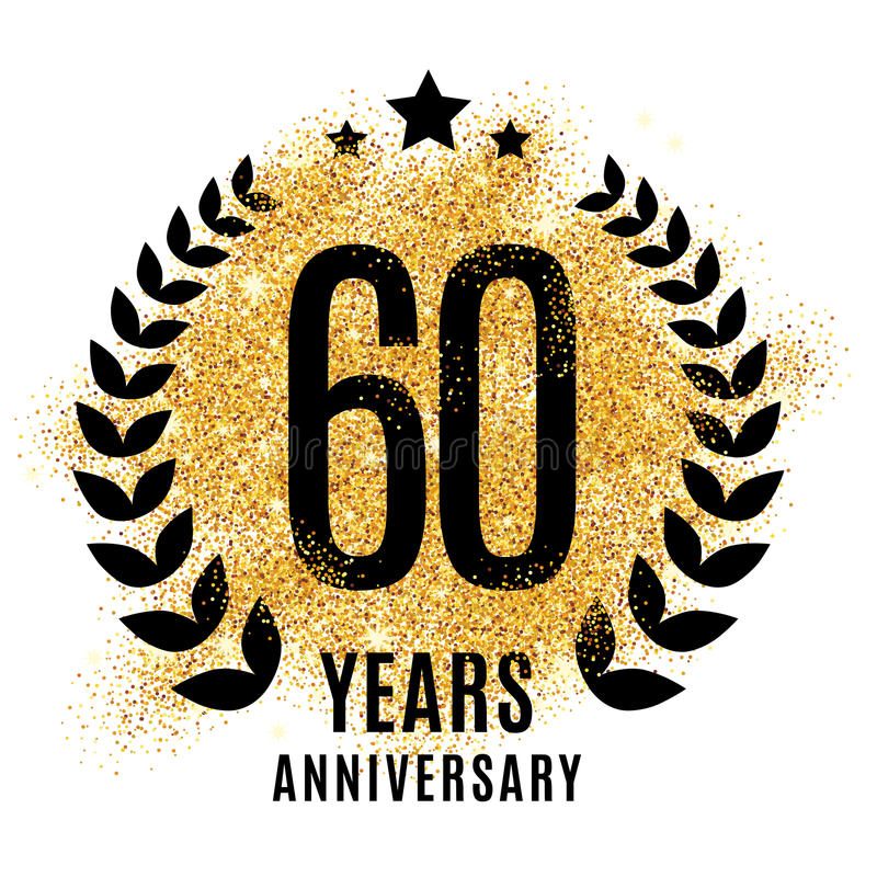 Sixty years gold anniversary. vector illustration