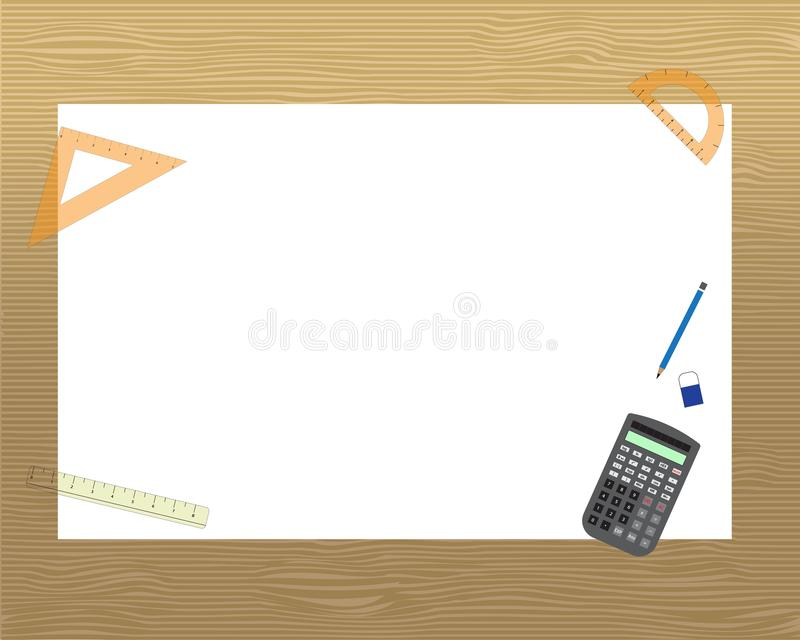 A3 size drawing paper with stationary and calculator royalty free illustration