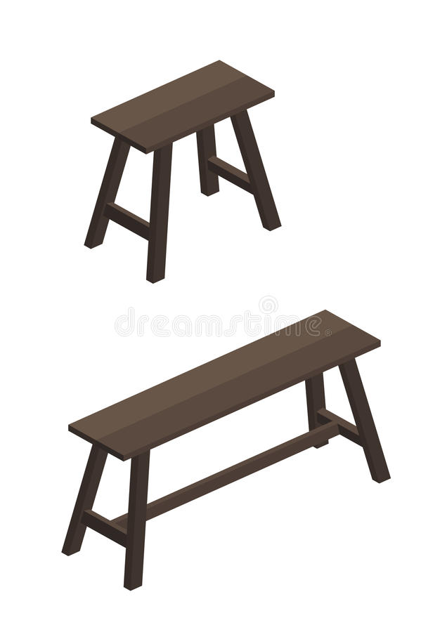 2 size of a Wooden chair. Isolated vector stock illustration