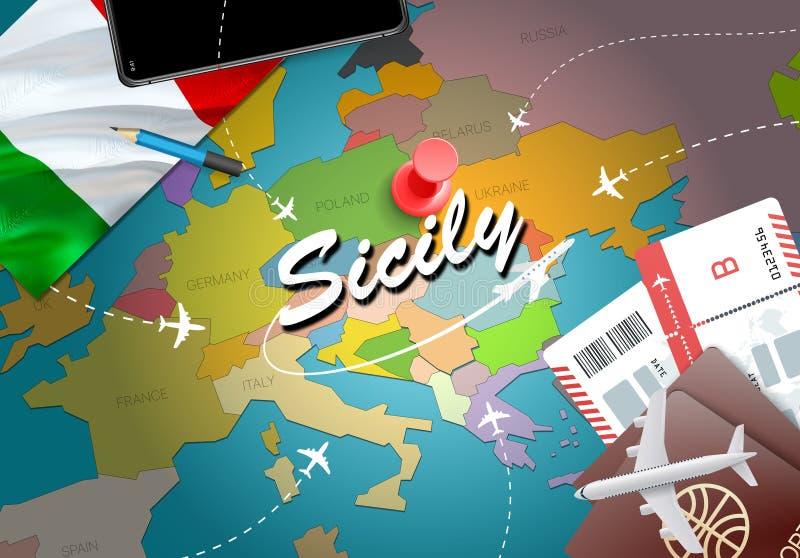 Sizilien-Stadtreise und Tourismusbestimmungsortkonzept Italien-Flagge a lizenzfreie abbildung