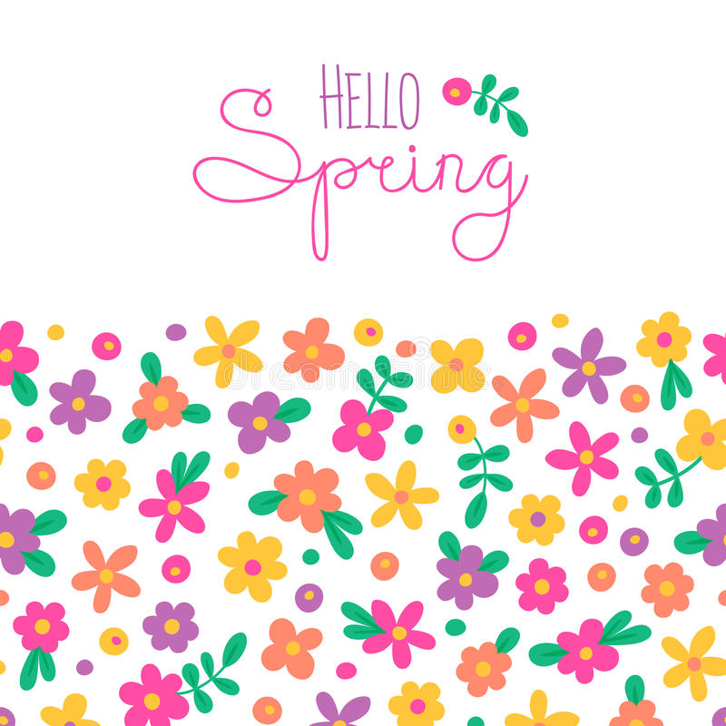 Exceptionnel Download Sizon Card Hello Spring With Cute Flowers Stock Vector    Illustration Of Background, Birthday