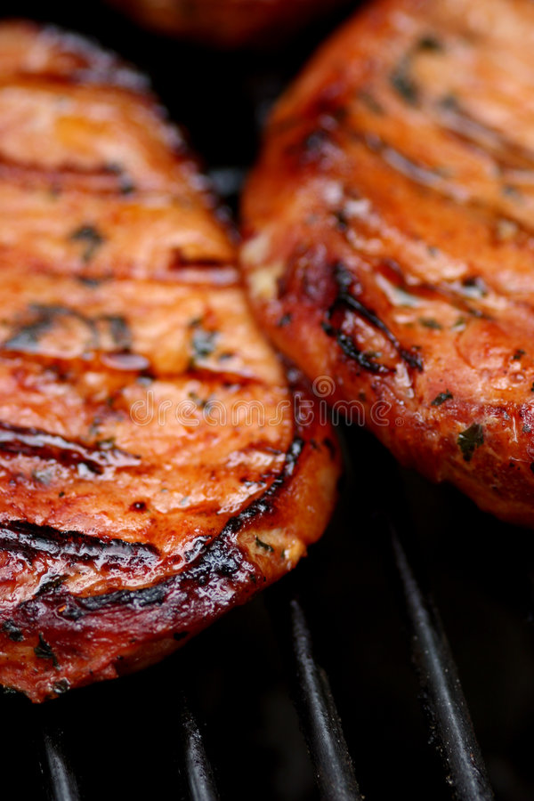 Sizzling hot meat stock image