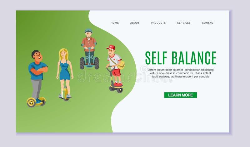 Själv-balansera unga män och flickan som rider solowheel på den gröna vektorillustrationen för rengöringsduk Självjämviktselkraft royaltyfri illustrationer