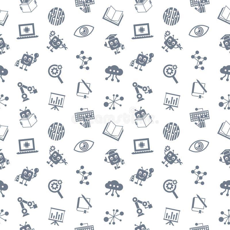 Själv för konstgjord intelligens som lär symbolsuppsättningen royaltyfri illustrationer