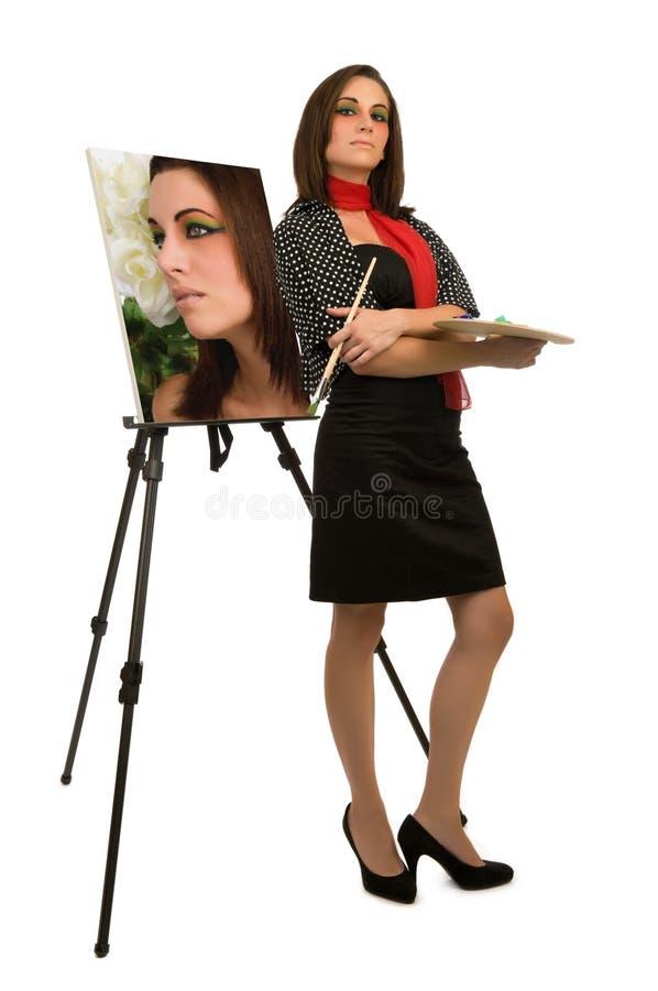 själv för konstnärstående s royaltyfri fotografi