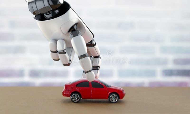 Själv-körning av bilbegrepp framförande 3d stock illustrationer