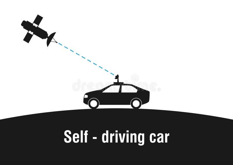 Själv - körning av bilen stock illustrationer