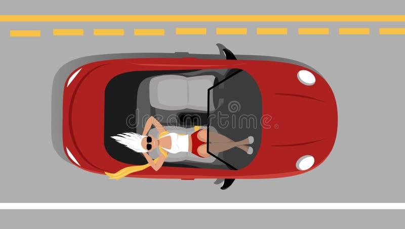 Själv-körning av bilen stock illustrationer