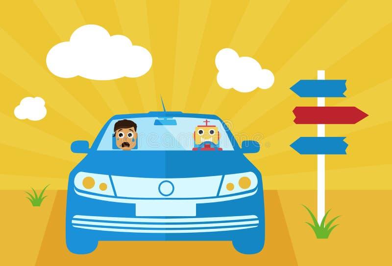 Själv-körning av bilen med människa- och droidvektorillustrationen vektor illustrationer