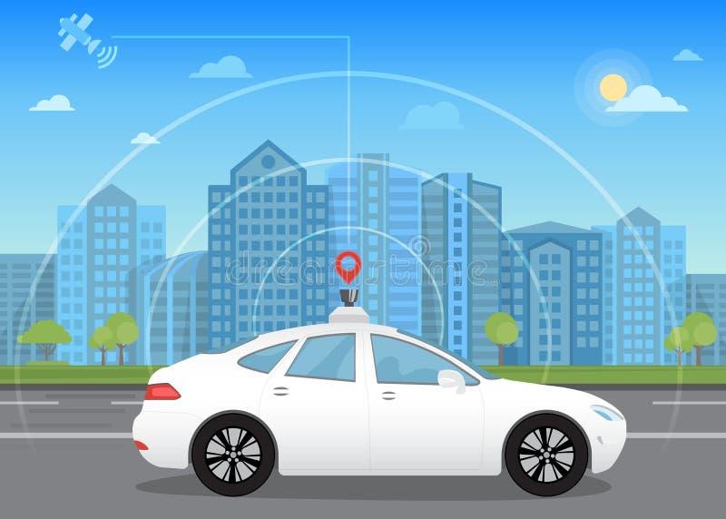 Själv-körning av den intelligenta driverless bilen går till och med staden genom att använda modern navigering stock illustrationer