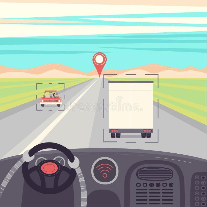Själv-körning av lastbilen Drived vid roboten, vektorillustration vektor illustrationer