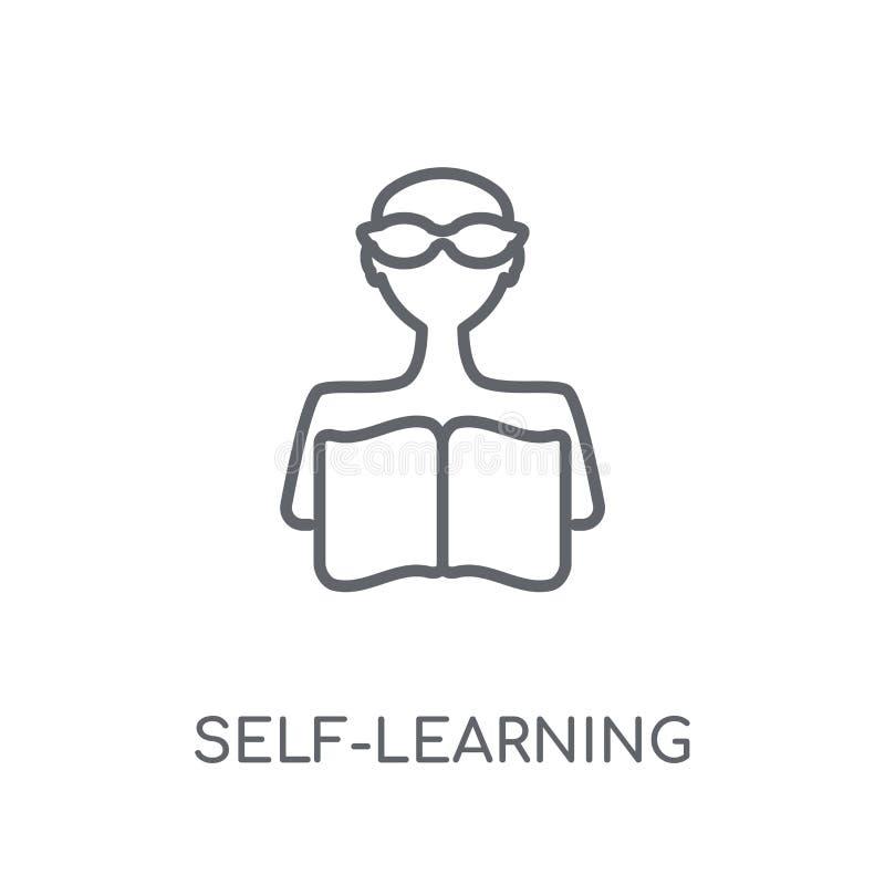själv-lära den linjära symbolen Lurar själv-lärande logoen för den moderna översikten royaltyfri illustrationer