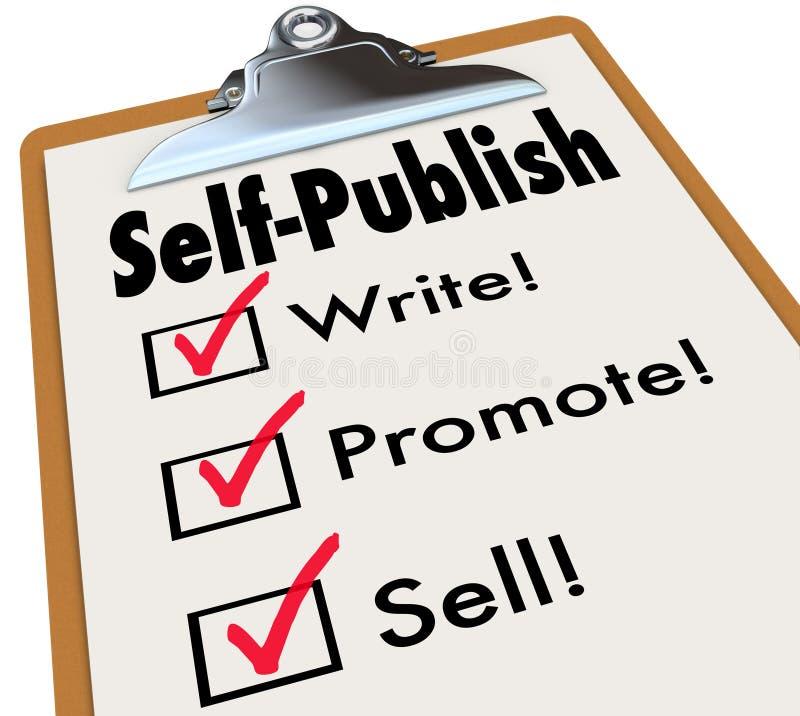 Själv-publicera skrivplattan skriver främjar försäljningsförfattaren Book författare royaltyfri illustrationer