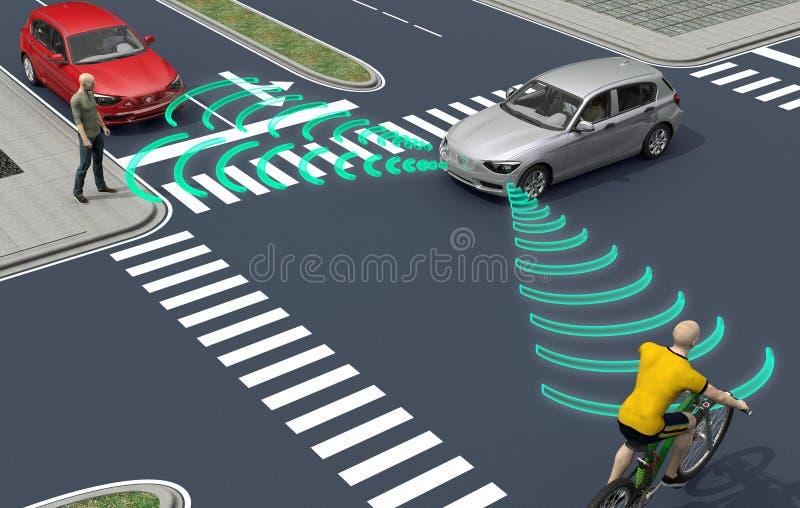 själv som kör bilar för elektronisk dator på vägen royaltyfri illustrationer