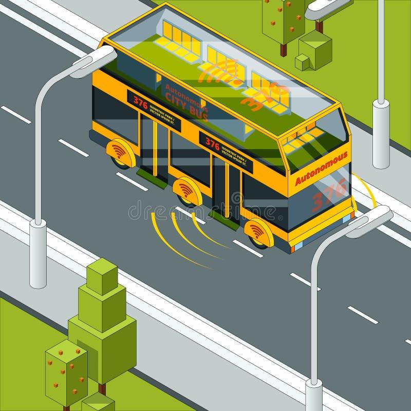 Själv som kör bilen Autonomt medel på vägbegreppsbilden av det automatiska systemet för självkontroll i bilvektor royaltyfri illustrationer