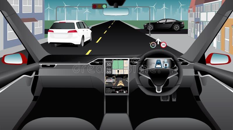 Själv som kör bilen utan chauffören på en stadsgata Inomhus sikt stock illustrationer
