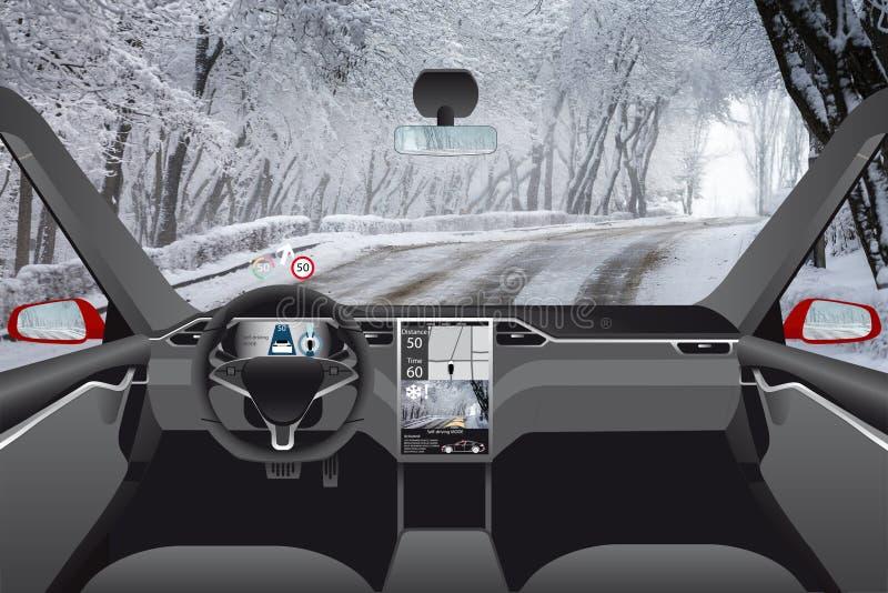 Själv som kör bilen utan chauffören på en vinterväg royaltyfri bild