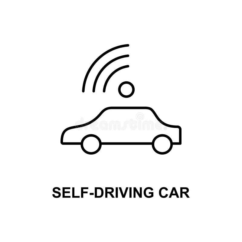 Själv som kör bilsymbolen Beståndsdel av teknologisymbolen med namnet för mobila begrepps- och rengöringsdukapps Den tunna linjen stock illustrationer