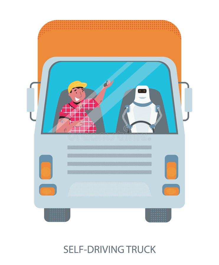 Själv som kör den autonoma lastbilen drived av roboten royaltyfri illustrationer