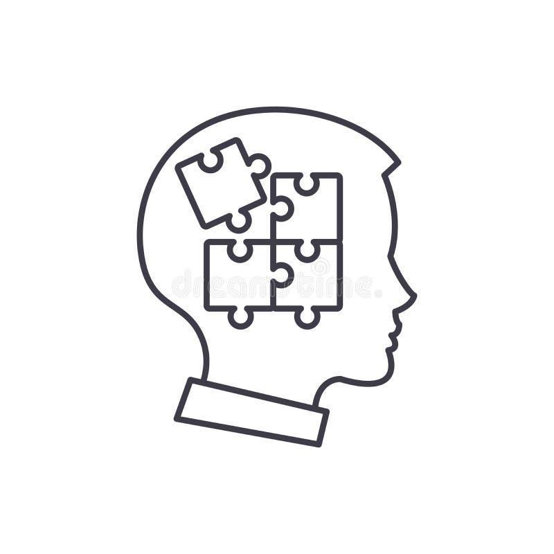 Självdisciplinlinje symbolsbegrepp Linjär illustration för självdisciplinvektor, symbol, tecken stock illustrationer