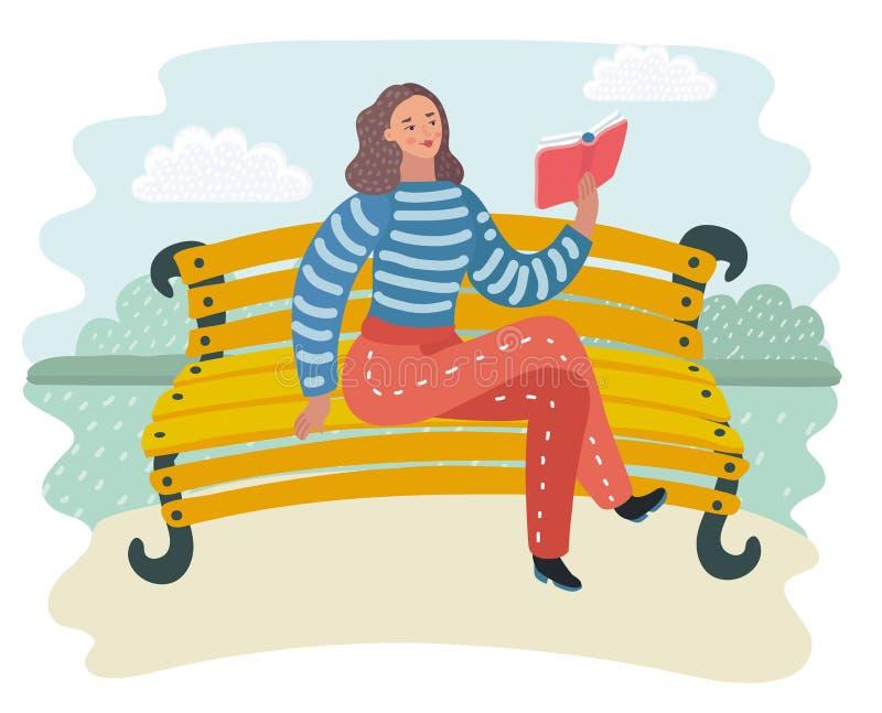 Själven som lär Granskning av böcker Läsa offentligt områden Kvinnasammanträde på en ta av planet i parkera Stads- livsstil stock illustrationer