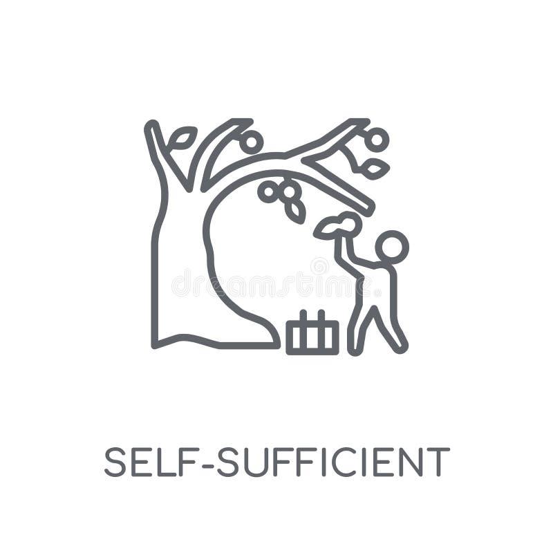 självförsörjande linjär symbol Självförsörjande logo för modern översikt royaltyfri illustrationer