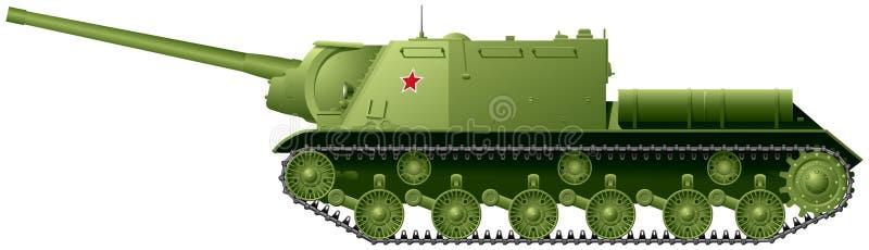 Självgående enhet för artilleri för jagare för behållare som ISU-122 baseras på den tunga behållaren IS-2 vektor illustrationer