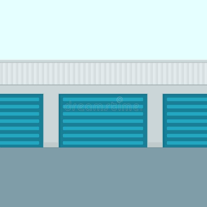 Självlagringsbyggnad stock illustrationer