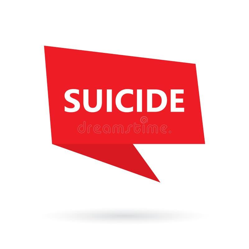 Självmordord på anförandebubbla stock illustrationer