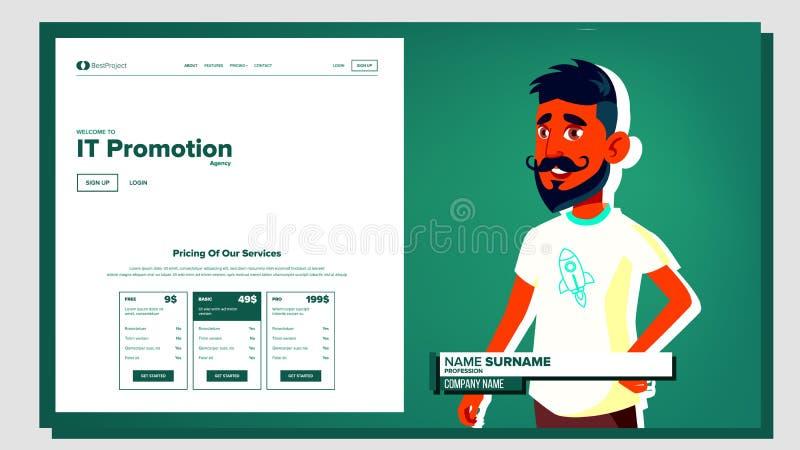 Självpresentationsvektor arabisk manlig Introducera sig eller ditt projekt, affär illustration royaltyfri illustrationer
