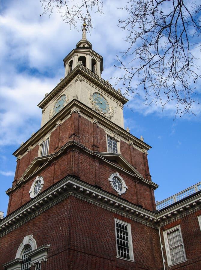 Självständighet Hall, Philadelphia, Pennsylvania, USA, byggnad och staty arkivfoto