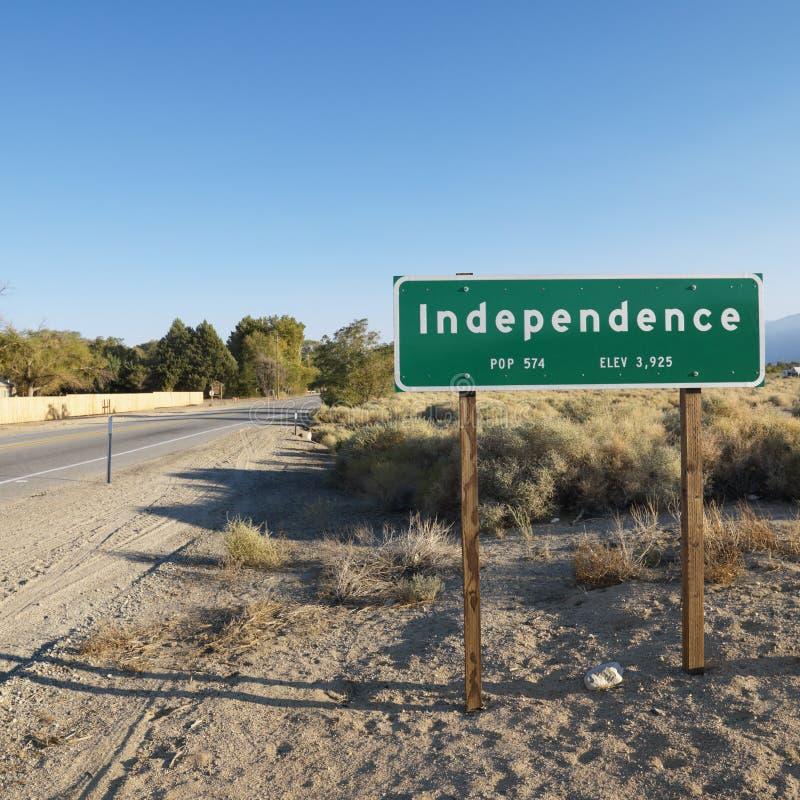 självständighet namngiven teckentown arkivfoto
